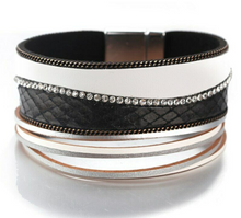 Layered Silver Black White leather Crystal Magnetic Bracelet