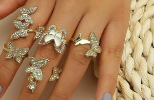 STATEMENT Gold Butterflies Clear Crystal Adjustable Ring Set