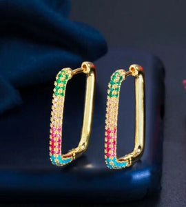 "LUXE Multi Coloured Small 1"" Rectangle Huggie Hoop CZ Earrings"