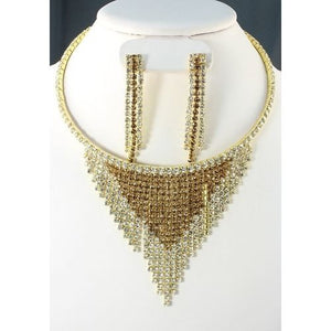 Statement Gold Topaz & Clear Crystal Bib Choker Necklace Set