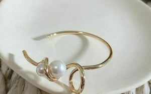 Unusual Statement Gold Large Pearl Twisted Cuff Bangle