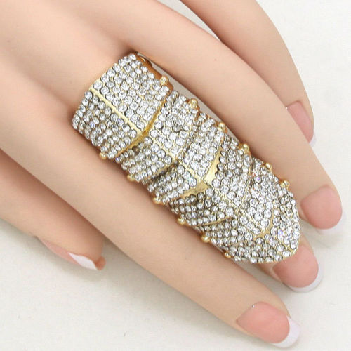 Statement Gold Crystal Armour Stretch Cocktail Ring