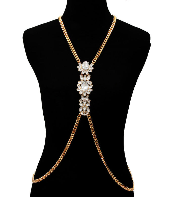 Statement Gold Crystal Necklace Body Chain