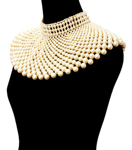 LUXE Spectacular Gold Cream Pearl Choker Necklace Set
