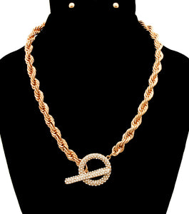 Pave Crystal Toggle Gold Necklace Set