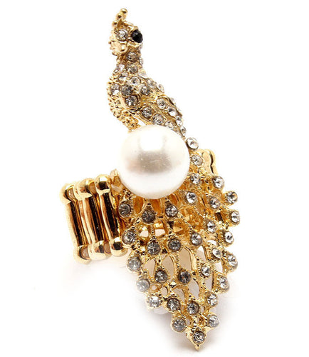 Statement Gold Crystal Pearl Peacock Cocktail Ring