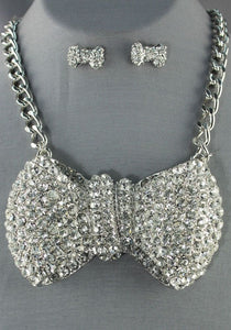 "Statement Chunky huge 4"" Silver Crystal Bow Tie Necklace Set"