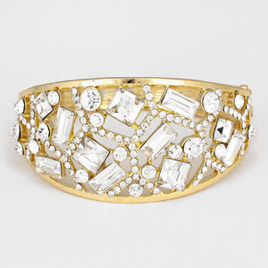 Statement Gold Clear Crystal Hinge Bangle