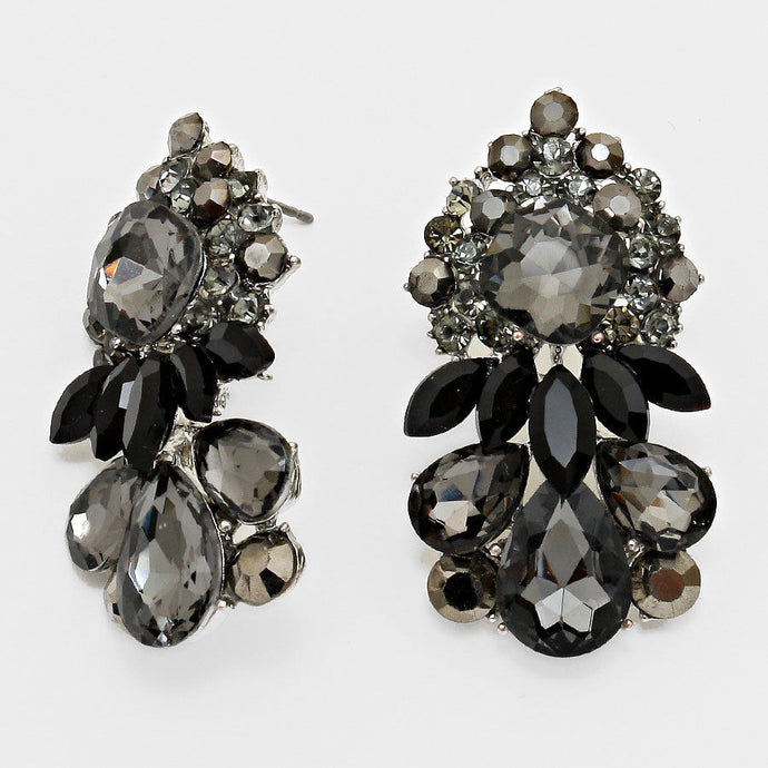Vintage Silver Black Diamond Big Stud Crystal Cocktail Earrings