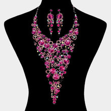 LUXE Silver Fuchsia AB Crystal Couture Cocktail Necklace Set