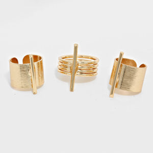 Celeb Statement Gold 3 Cuff Ring Set