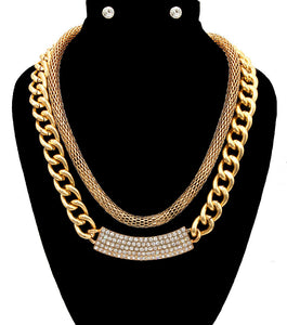 2 Row Statement Mesh Chain Gold ID Crystal Necklace Set