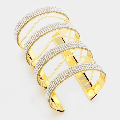 Statement Long Crystal Cuff Bangle
