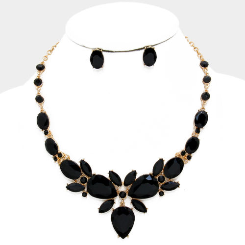 Statement Gold Jet Crystal Cocktail Necklace Set