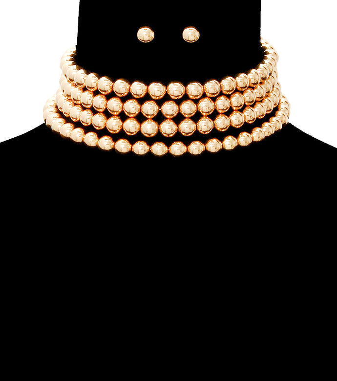 Statement Gold 4 Row Bead Wide Choker Necklace Set