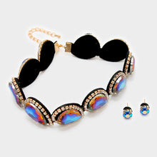 Statement Gold Blue Fire Crystal Choker Necklace Set