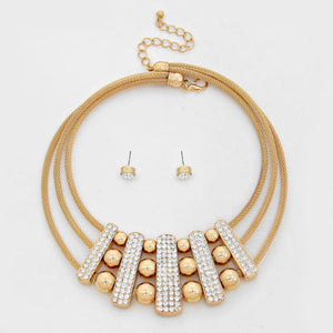 Statement Gold Mesh Pave Crystal Bar Collar Necklace Set