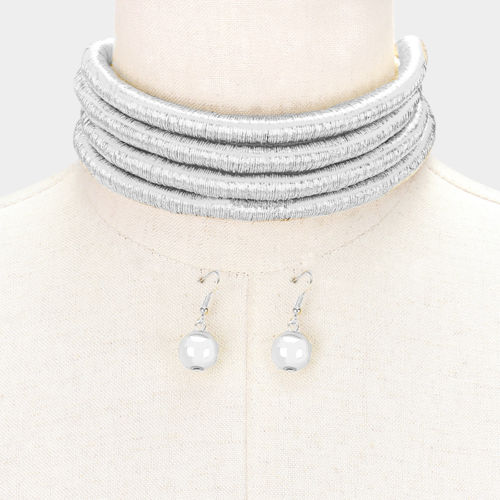 Silver 4 Layers Sparkling Metallic Cord Choker Necklace Set