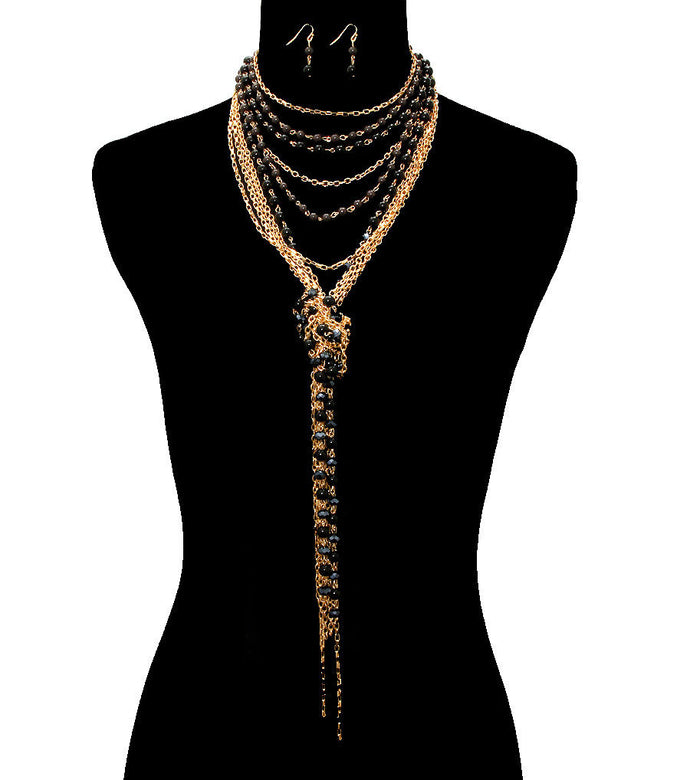 Statement Gold & Black Layered Choker Necklace Set