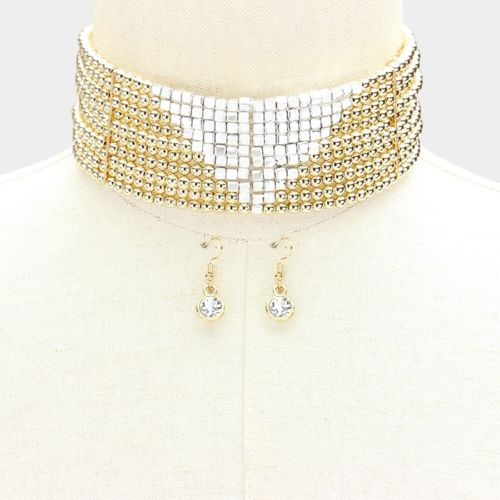 Wide Gold & Silver Bead Choker Necklace Set