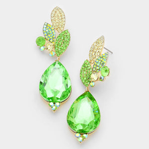 "Gold Vibrant Peridot Crystal BIG 3"" Cocktail Earrings"