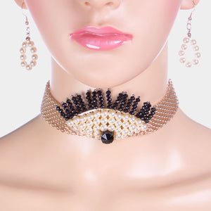 Statement Gold Mesh Pearl Wide Choker Necklace Set