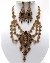 LUXE Vintage Gold Amber Topaz Crystal Cocktail Necklace Set