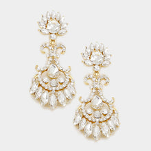 "Statement Gold Crystal Big 2.75"" Cocktail Bridal Earrings"