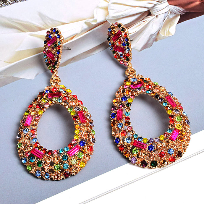 Gorgeous Statement Gold Multi Crystal Big Oval Drop Earrings