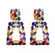 Gorgeous Statement Gold Multi Crystal Big Rectangle Drop Earrings