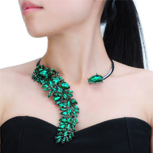 Statement Emerald Green Crystal Open Choker Cocktail Necklace Set