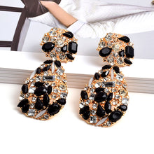 STATEMENT Gold Black Jet Crystal Big Cocktail Earrings