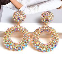 GORGEOUS Statement Gold AB Crystal Circle Cocktail Earrings