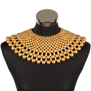 AMAZING Statement Gold Pearl Choker Cape Necklace
