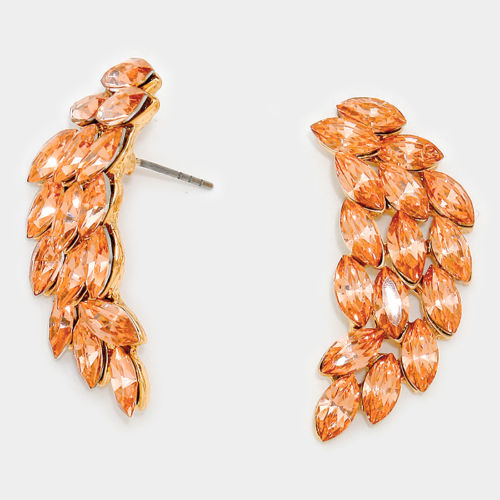 Glam Big Angel Wings Gold Peach Crystal Stud Earrings