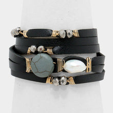 Celeb Statement Black Gold leather Howlite Pearl Wrap Bracelet