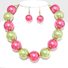 Whimsical Statement  Pink & Lime Pearl Necklace Set