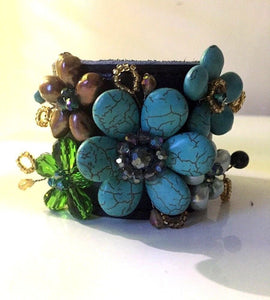 Fresh Water Pearl Multi Crystal Teal Leather Cuff Bracelet