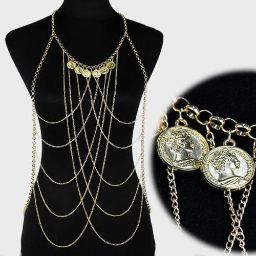 Statement Gold Faux Coin Vest Body Chain