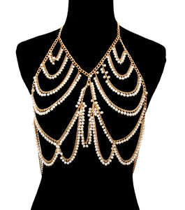 LUXE Statement Gold Cream Dangle Pearl Necklace Body Chain