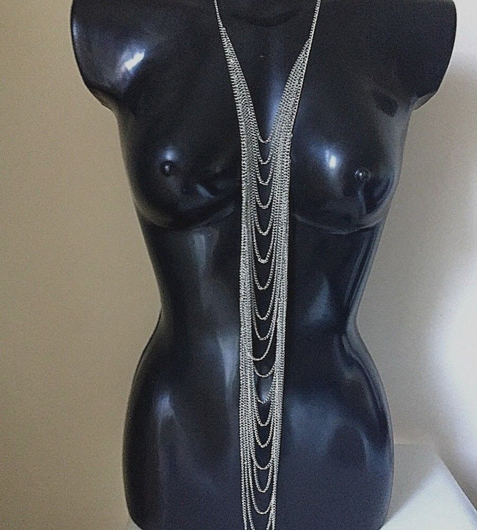 Dark Silver Long Layered Necklace Body Chain