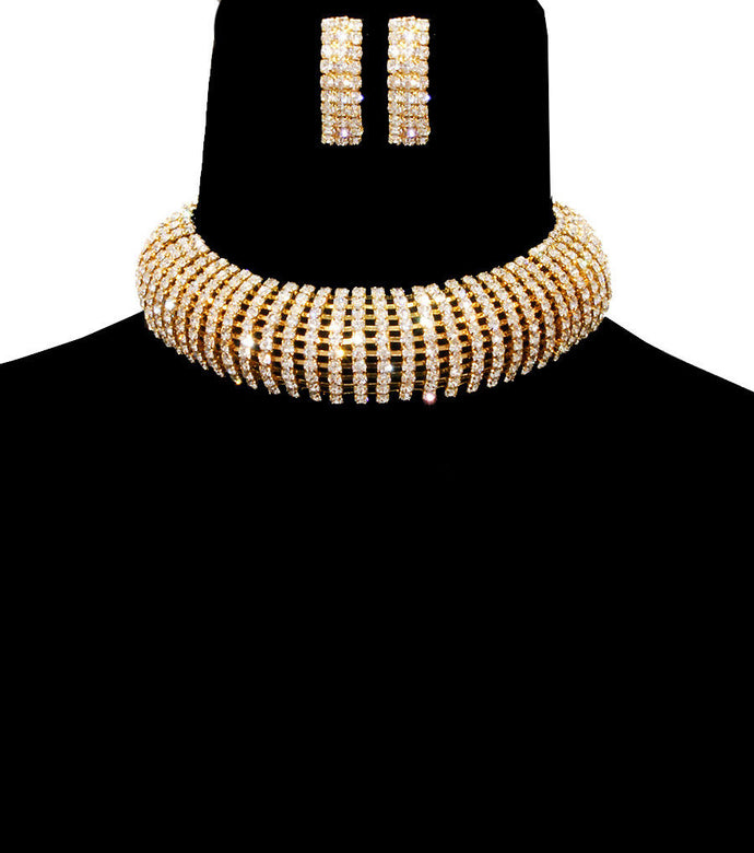 Statement Gold Pave Crystal Choker Cocktail Necklace Set