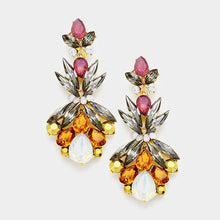 "Statement Gold Topaz Ruby Crystal Big 2.5"" Cocktail Earrings"