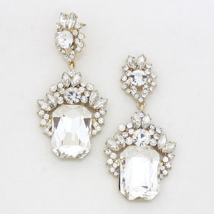 "Statement Gold Clear Crystal BIG 2.75"" Cocktail Bridal Earrings"