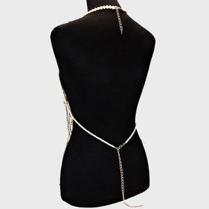 LUXE Statement Gold Pearl Necklace Body Chain