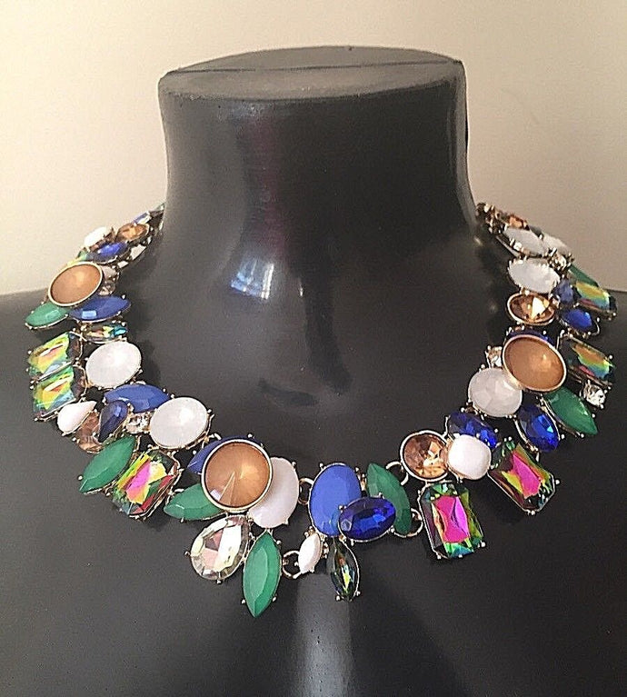 GLAM Gold Vitrail Multi Crystal Collar Cocktail Necklace