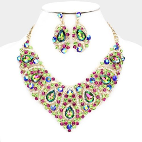 LUXE Whimsical Gold Vitrail Crystal Cocktail Necklace Set
