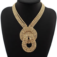 Gold Celeb Statement Mesh Chain Necklace & Earrings Set