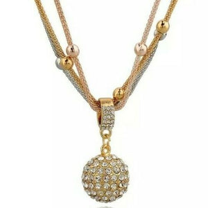 ADORABLE Gold Silver Rose Crystal Ball Superb Quality Necklace