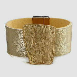 ELEGANT Gold Leather Etched Metal Magnetic Fastening Bracelet